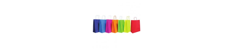 Bolsas de papel y plástico, con o sin asas.
